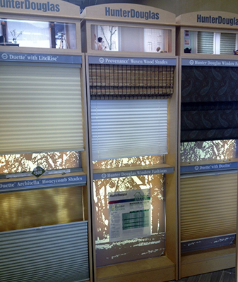 Hunter Douglas display in our showroom, here at Abbey Flooring Design Center in Elkgrove.